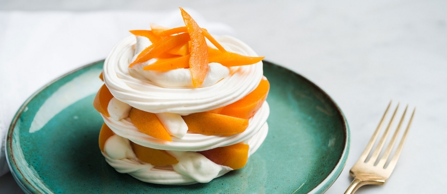 LAYERED APRICOT PAVLOVA WITH LAVENDER CREAM OF THE CHEF*** DANIEL BOULUD